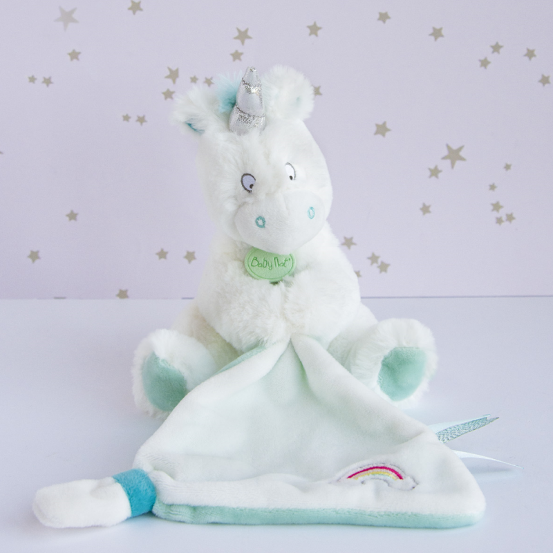 baby comforter with unicorn white blue