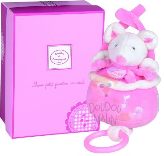 Doudou Et Compagnie Cueillette Soft Toy Mouse Pink